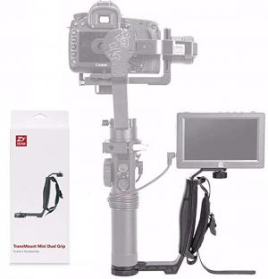 Zhiyun Mini Dual Grip, Transmount Single Handle Grip L Bracket Rig 1/4 Screw Connector for Zhiyun Crane 2 Crane Plus Crane M V2 Series DJI Ronin-S Handheld Gimbal Stabilizer w/EACHSHOT Cleaning Cloth